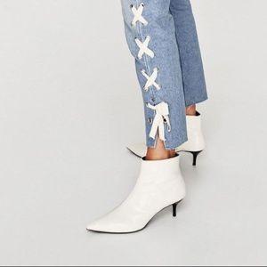 Zara white kitten heel faux patent ankle boots